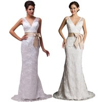 Wholesale Sexy Deep V Neck White and Ivory Sheath Mermaid Lace Wedding Dresses Sleeveless Backless with Bow Bridesmaids Dress Gown CL3850
