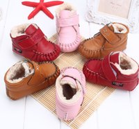 Wholesale new winter baby boys and girls leather sheepskin plus cotton shoes leisure all match warm genuine leather toddler boots