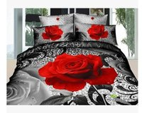 Cheap 3D Black and red rose cotton bedding comforter set queen size bedspread duvet cover bed in a bag sheet western style bedroom quilt bedclothe