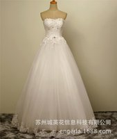 Wholesale 2016 fashion white Empire wedding dress sleeveless backless lace up sexy lace slim strapless tulle floor length crystal Empire wedding dress