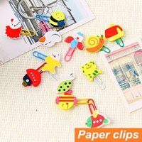 Wholesale 72 Paper clips Cute Animal Wood Metal bookmarks Paper holder folder Stationary office material School supplies