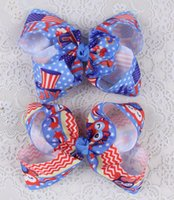 "Barrettes Blending Print 50pcc owl Cheer Bow ABC basis baby 4"" Xmas Party USA flag prints cartoon princess Hair Bow Clips for 4th of july HD3448"