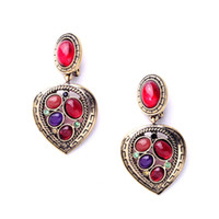 Wholesale High Quality and Luxury Big Teardrop Shaped Dangling Long Ruby Red Crystal Rhinestone Drop Earring For Women pair