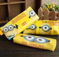 Wholesale cute Minions pencil case Despicable Me Stationery Pencil Bags minion Pencil cylinder bag stationery set pencil case D1533