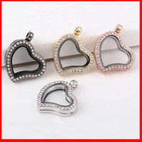 Wholesale Heart love Floating locket DIY Jewelry Living Memory photo glass crystal frames open charm floating lockets pendants for necklace
