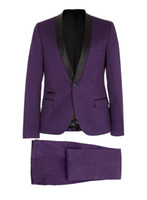 beige blazer for men - New Purple Tuxedos For Men with Black Satin Lapel Mens Wedding Tuxedos for Groom Dinner Pop Mens Suits Jacket Blazer Jacket Pants Bow Tie