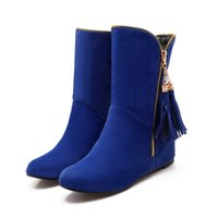 Wholesale New Lady s Winter Warm Suede height increasing Tassel Snow boots with zip Fashion Women s short boots in