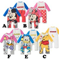 baby creepers - 2014 baby clothes newborn rompers conjoined creeper Minnie Mickey cartoon ha Yi boy girl baby B001