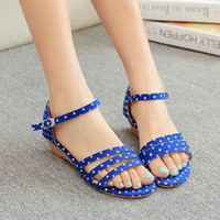 Cheap ENMAYER Red Blue Black Fashion Women Sweet Polka Dot Sandals 2014 New Arrival Wedges Summer Shoes Ladies Dress Casual Sandals