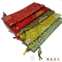 Wholesale New style Bunk High Quality Combs Gift Bags Drawstring Silk Brocade Printed Packaging Pouches cm mix color
