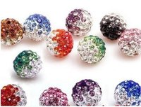 Wholesale 12mm Gradient Two Tone Shamballa Ball Jewelry Making clay Pave Disco Rhinestonet Bead Full Hole Each Color or Mix Color