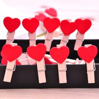 Wholesale Big discount Heart Shape Wooden Memo Clip Love folder wedding small wooden clip mini wooden clip Red colorZZ0182