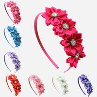 Wholesale 2015 Hot Baby Girls four Satin Ribbon Flower hairband Baby Girls Flower With Pearls Hairwear rhinestone Hair Accessories