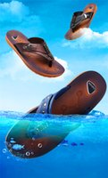 Wholesale Men Flip Flop Mens Shoes Men Slippers Cool Flat Beach Casual Flip Flops Shoes New Mens Slippers Fashion Mens PU Leather Comfortable