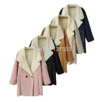 american apperal - European American Apperal Autumn Winter Lapel Double breasted Suede Women Warm Long Fur Coat Female Parka Overcoat Pink Khaki