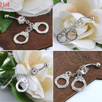 Wholesale Handcuffs Belly Rings Rhinestone Crystal Navel Belly Bar Button Barbell Rings Body Jewelry Piercing Silver Hot Dangle Belly Rings