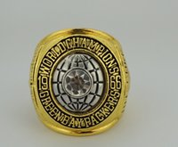 Cheap free shipping 1966 Super Bowl I Bay Packers Championship Ring Crystal Gold Pleated Ring Men Jewelry