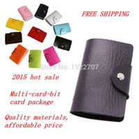 adult business cards - 2015 Multi card position adult women men Lambskin Credit Card Pack bus Card ID Holders wallet Busines Package PU Leather Bag