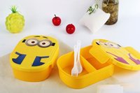 Wholesale 800ml Kids Despicable Me Lunch Box Bento Case with Spoon Dinnerware Set Minions Bowl Children Cartoon Lunch box Christmas gift n jp