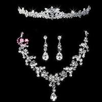 Wholesale Ceremony Crystal Rhinestone Jewelry Wedding Bridal Party Tear Drop Earring Necklace Set Wedding Jewelry Set DW087