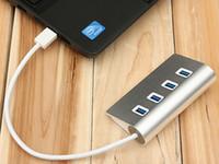 Cheap 5Gbps Hi-Speed 4 Ports Aluminum USB 3.0 Hub Portable Hub for Apple Macbook Pro Mac PC Laptop