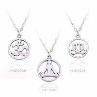 Wholesale Yoga Pendant Necklaces OM Meditate Yoga Meditation Yogi Lotus OHM Asana Seven Chakra Yoga Alloy Necklaces Women Men Gift fashion jewelry
