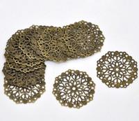 Wholesale hot Bronze Tone Filigree Flower Wraps Connectors mm B14745 A5