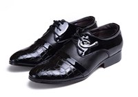 Cheap HOT!!2014 new British style pointed toe man black japanned patent leather shoe men's transpierce leather dress wedding shoes