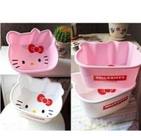 plastic bowl wholesale - bathroom kitchen accessories small pink hello kitt plastic basin for washing fruit plate washbasin storage organizer box bowl