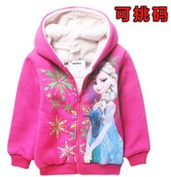 Wholesale autumn winter Frozen girl Long Sleeve hoodies children coat clothing Coral fleece children cartoon top kids baby jacket T ESY50