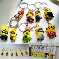 Wholesale 3cm Types D Despicable Me Minion Action Figure Keychain Keyring Key Ring Cute Promotion Gifts Card Package