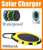 Cheap Solar Battery Charger 5000mAh Waterproof Shockproof Dustproof Solar Power Bank panel Dual USB with LED Lights for Mobile Phone PAD POB032