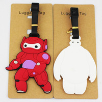 Wholesale Big Hero Baymax color white and red baymax pvc figure luggage tag soft baggage card order lt no tracking
