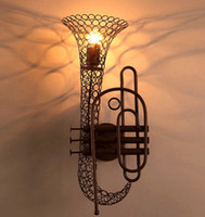 Wholesale Retro Creative Saxophone Wall Lights Vintage Loft Bar Hotel Table Lights Bookstore Wall Lamp Lighting fixture Wall Lights