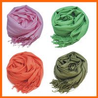 Wholesale 2014 new MIC Mxed Pashmina Cashmere Mixed Pashmina Cashmere Solid Shawl Wrap Women s Girls Ladies Scarf Soft Fringes Solid Scarf free1805012