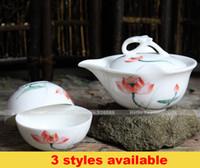 Gros- [HT!] Peint à la main fleurs de thé de Voyage ensemble, portable vaisselle en porcelaine de voyager gong fu teaset, 1 théière avec filtre + 2 tasses