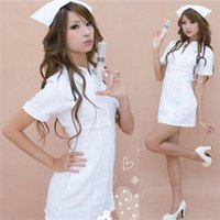 wholesale ds games - Sexy Uniform Game Anime Costume White Nurse Short Skirt Suit Role Playing DS Clothing Clubwear FZ953