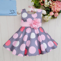 Summer baby wear princess - Little Girls Dots Dress Summer Kids Baby Clothing Grey Sleeveless Sundress Fashion Infant Wear Frozen Girl Princess Dresses Casual Outfits