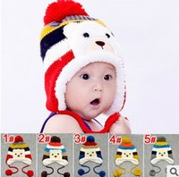 Cheap Free Shipping Kawaii Cartoon Bear Design Stripe and Balls Decorated Crochet Winter Thickening Earflap Baby Hats Kids Caps
