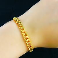 Wholesale 24K Gold Plated Medusa Pendant Bracelet cm Long High Quality cuban franco chain Fashion Star Hiphop bracelet bangle bijouterie jewelry