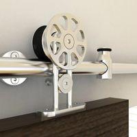 Wholesale 5 ft Spoke wheel hanger stainless steel top mounted single double sliding barn wood door hardware