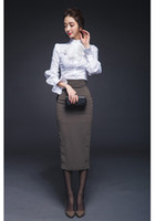 Wholesale business suits skirts for women ensemble bodycon sets women piece skirt sets white victorian blouse steampunk skirt