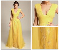 abed mahfouz - 2016 Fashion Yellow Celebrity Evening Dresses V Neck Empire Cap Sleeves Lace Tulle Floor Length Long Abed Mahfouz Prom Dresses Formal Gowns