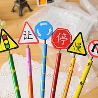 Wholesale C01 South Korean stationery cute cartoon traffic signs manual wooden pencil styluses
