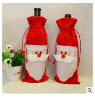 Wholesale 13 quot Wine Bottle Bag Red Wine Bottle Cover Bags Xmas Santa Claus Wine Bottle Cover Bag Christmas Decorations m0484