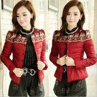 Wholesale new slim women fashion lace Feather cotton colour Down Jackets women Cotton padded jacket M XL