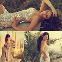 split shorts - Myriam Fares Sparkling Prom Dresses Bling Bling Glitter Rhinestone Crystal Spaghetti V Neck High Side Split Floor Length
