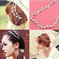 Wholesale 2014 New Cute Women Hairwear Flower Shaped Crystal Elastic Hair Jewerly For Women