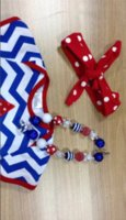 Wholesale 2015 hot sell baby girl July th chervon star romper with matching headband and necklace
