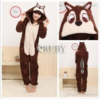 Wholesale New Adult Unisex Fashion Pajamas Cosplay Japan Costumes Cute Animal Chipmuck Cartoon Onesies Pyjamas Sleepwears